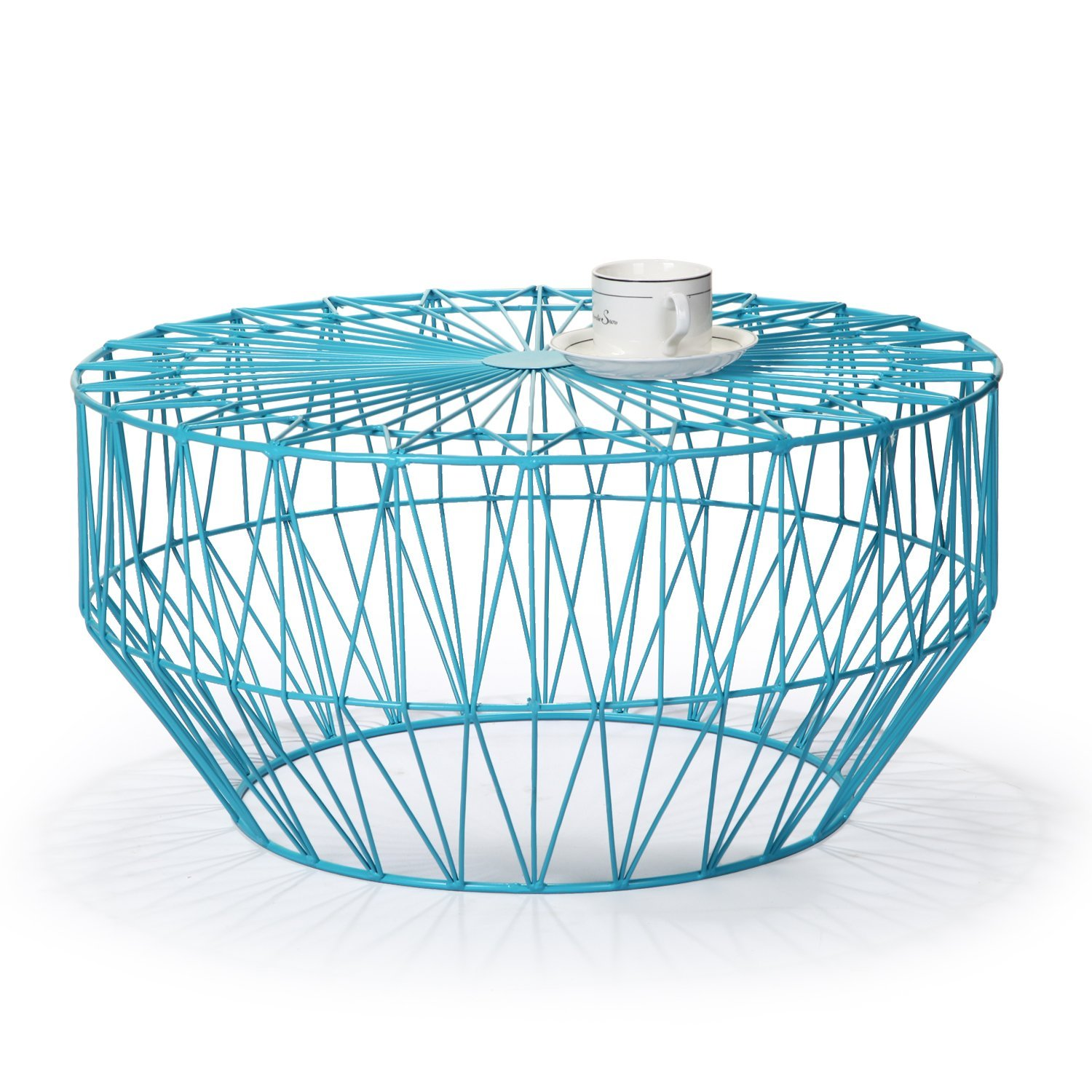 joveco round metal iron wire structure coffee table sofa with triangle pattern light blue adeco accent starburst end side sky thin console west elm carpets solid marble mohawk