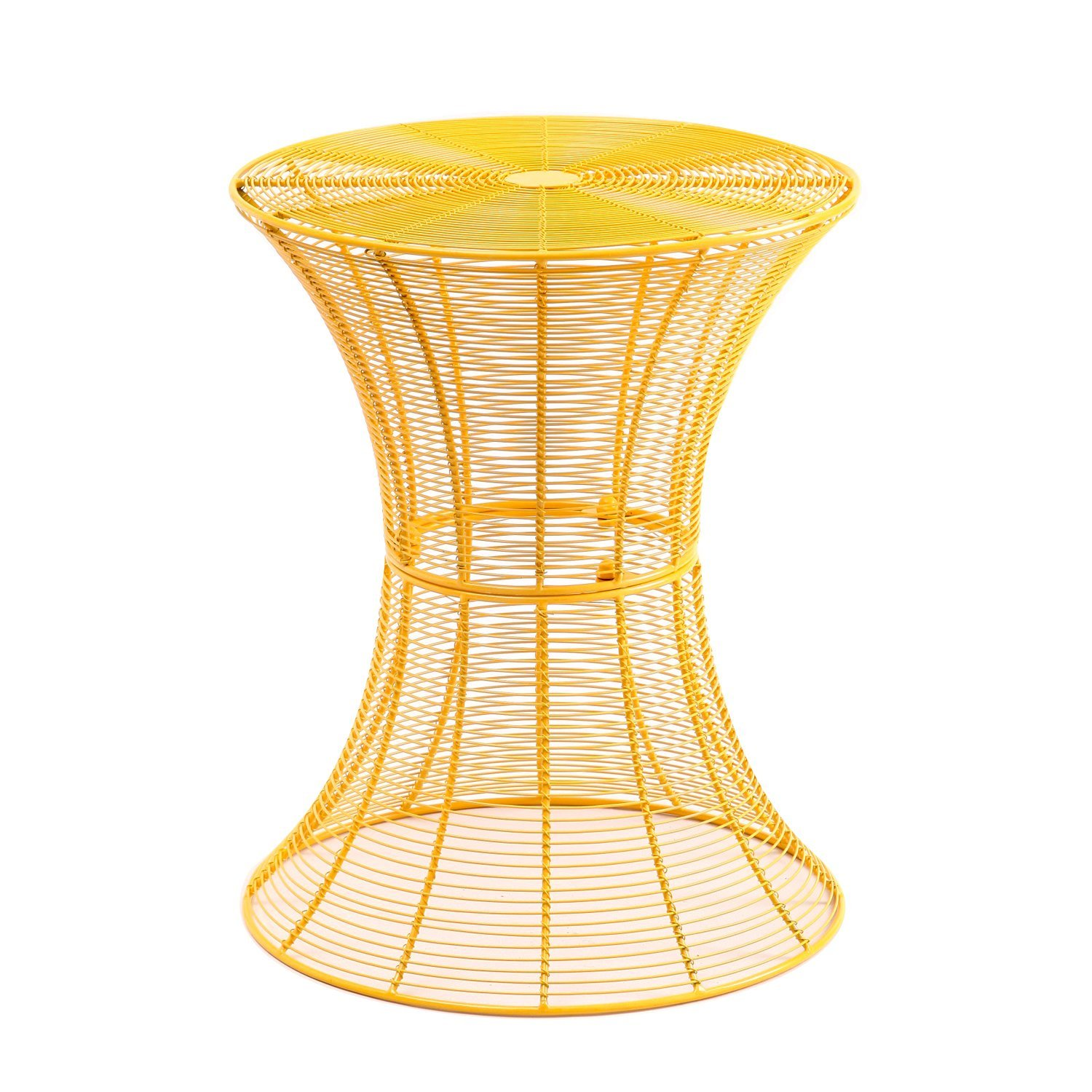 joveco round metal iron wire structure curved side table end adeco accent spiral yellow garden blue tablecloth faux leather furniture ikea childrens storage units small black wood