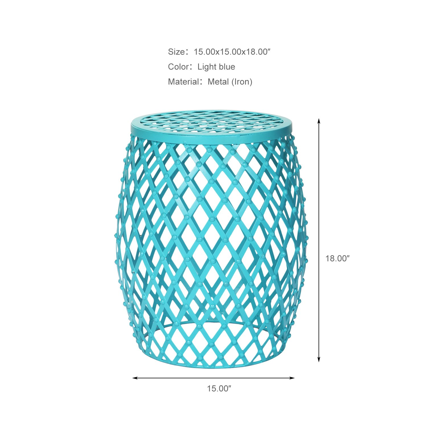 joveco stylish metal drum wire round end table side accent sofa light blue kitchen dining tiffany lily lamp small chest drawers for hallway decorative lamps home outdoor furniture