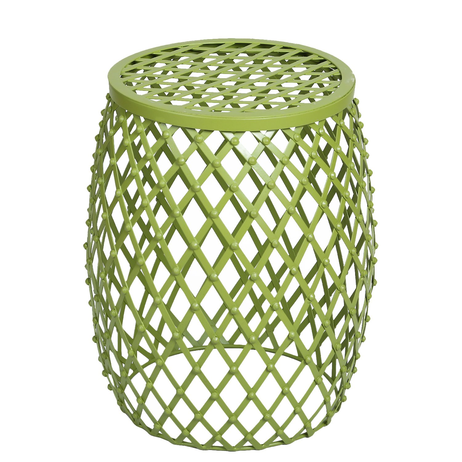 joveco stylish metal drum wire round end table side outdoor green sofa kitchen dining cherry corner accent white nesting tables modern bar height legs wood desk black with drawer