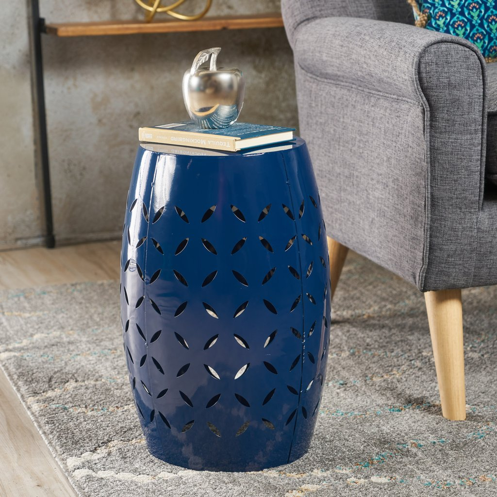 joyce lace cut iron accent table gdf studio blue metal furniture and home decor with drink cooler outdoor patio seating pineapple lamp light wood end tables stacking side modern