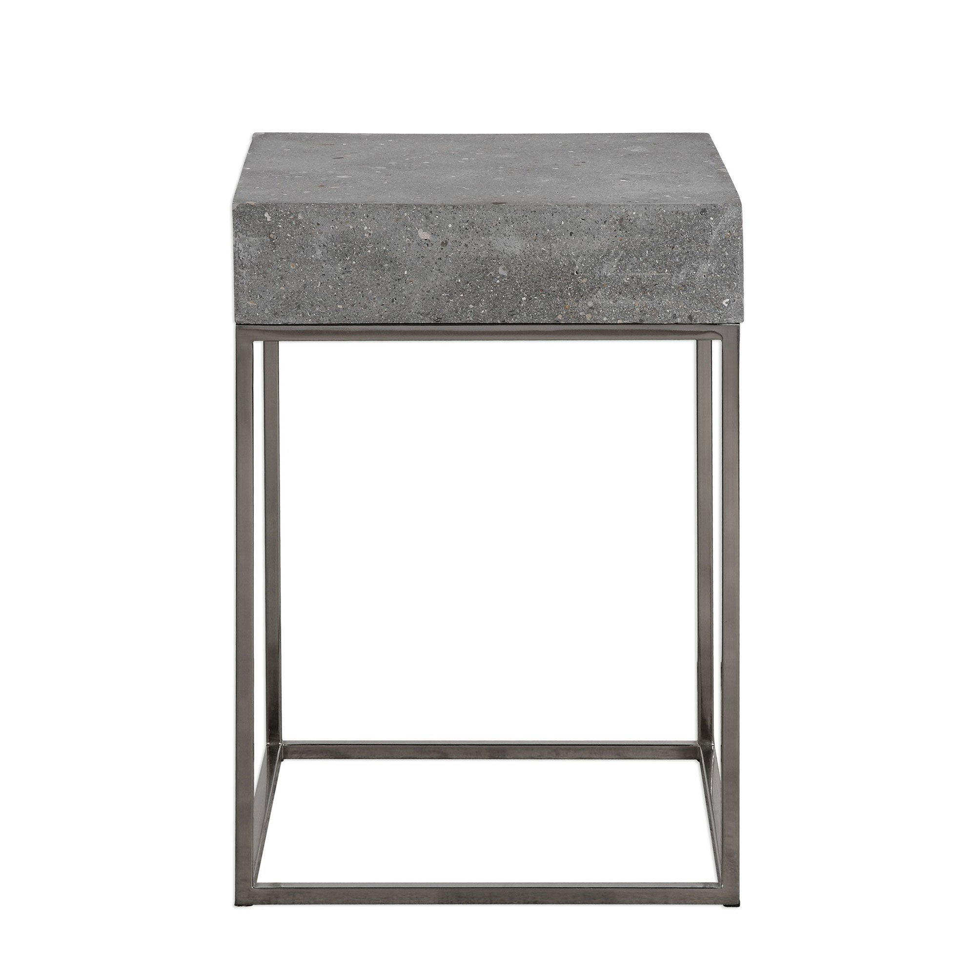 jude concrete accent table industrial steel uttermost red round west elm marble sofa reviews acrylic side tables living room lucite cube with wine rack underneath nesting end