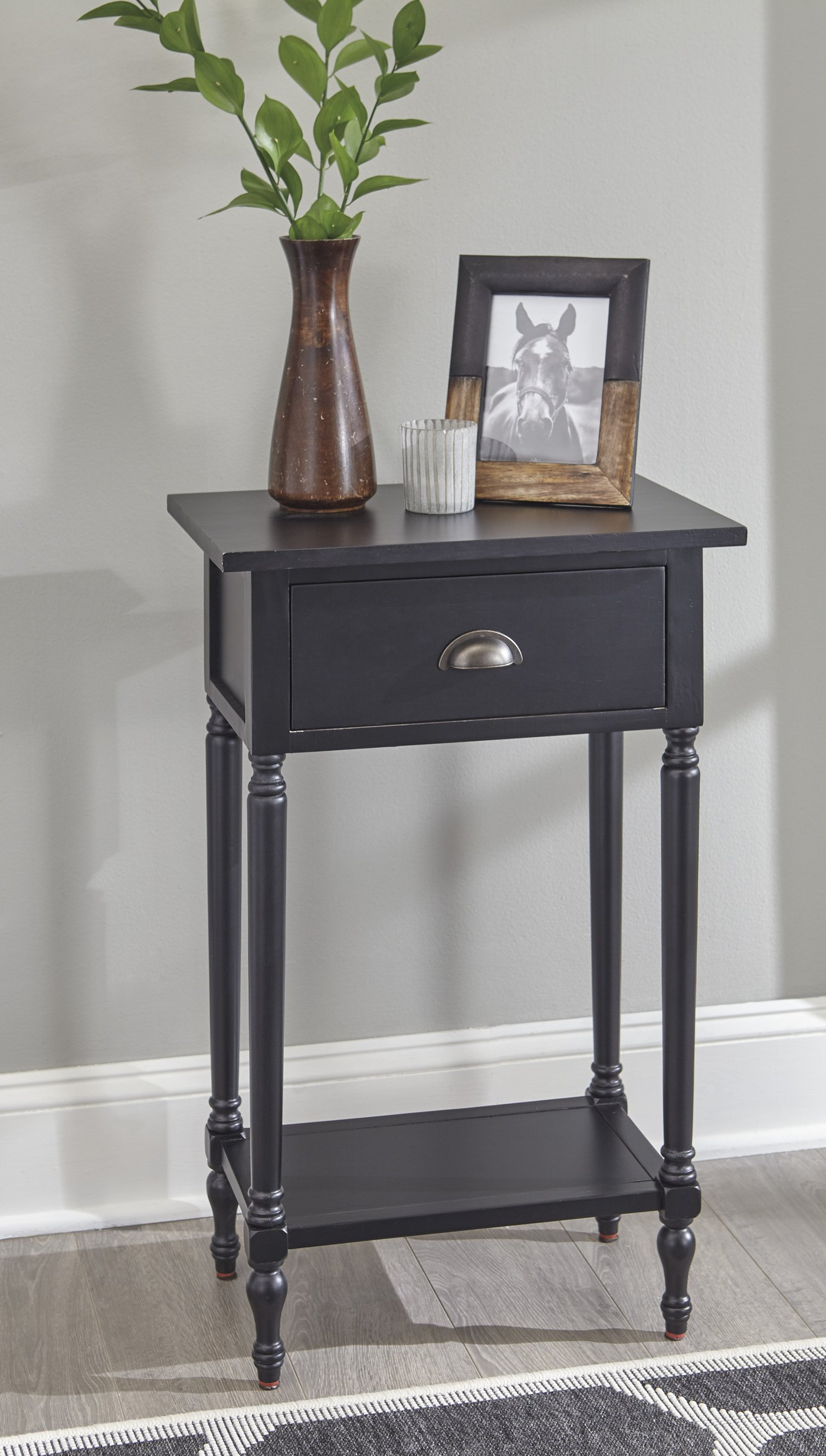 Rustic Living Room Tables : Black Accent Table With Drawer. Bombay ...