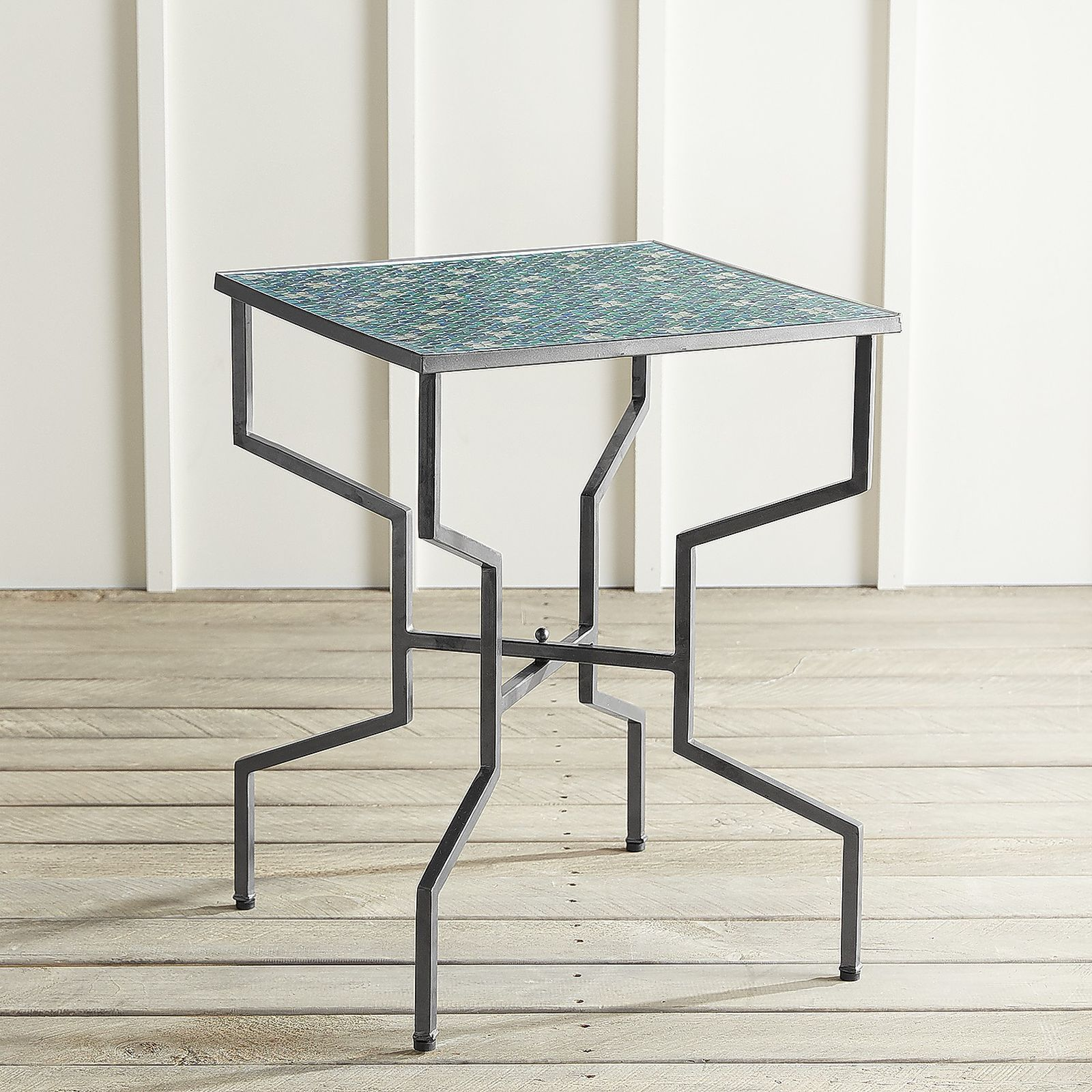 julian mosaic accent table side tables tiles indoor with ingenious design and mediterranean inspired motif our has hand applied tile top metal base equally blue runner grey coffee