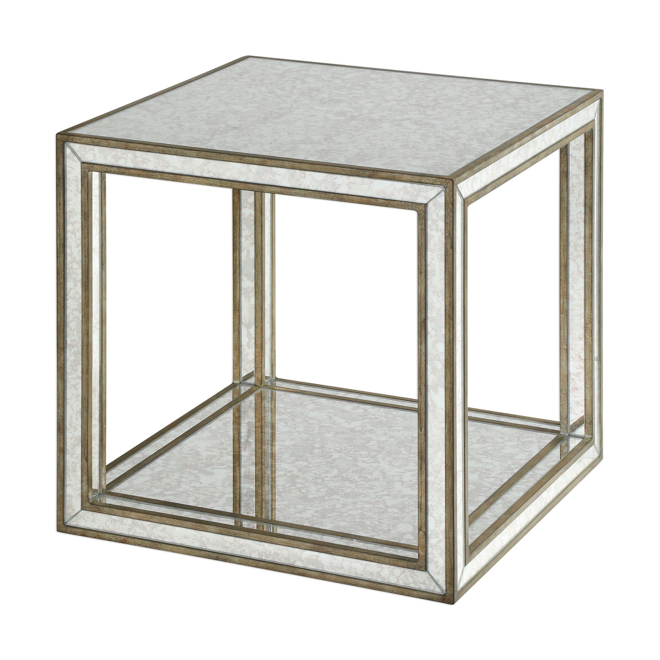 julie contemporary antique mirrored open cube accent table uttermost banquet tablecloths modern lamp designs aluminum door threshold small drop leaf dining short end lamps with