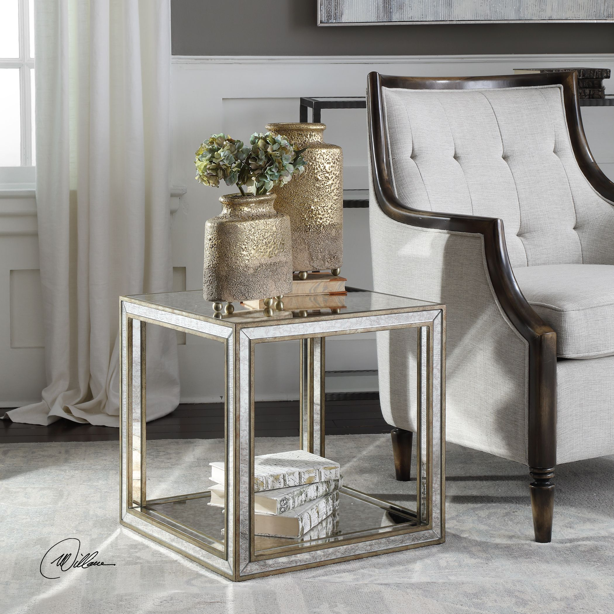 julie contemporary antique mirrored open cube accent table uttermost home ornaments wine rack shelf side with drawer white diy desk plans banquet tablecloths lamp tables for