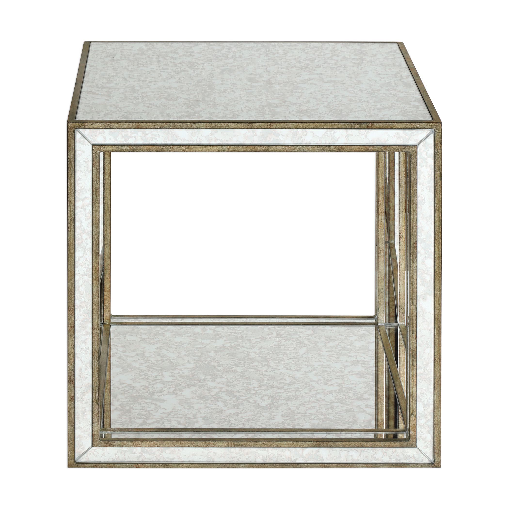 julie contemporary antique mirrored open cube accent table uttermost pub set bbq grill side with drawer white lamps usb and black wicker patio furniture red living room decor