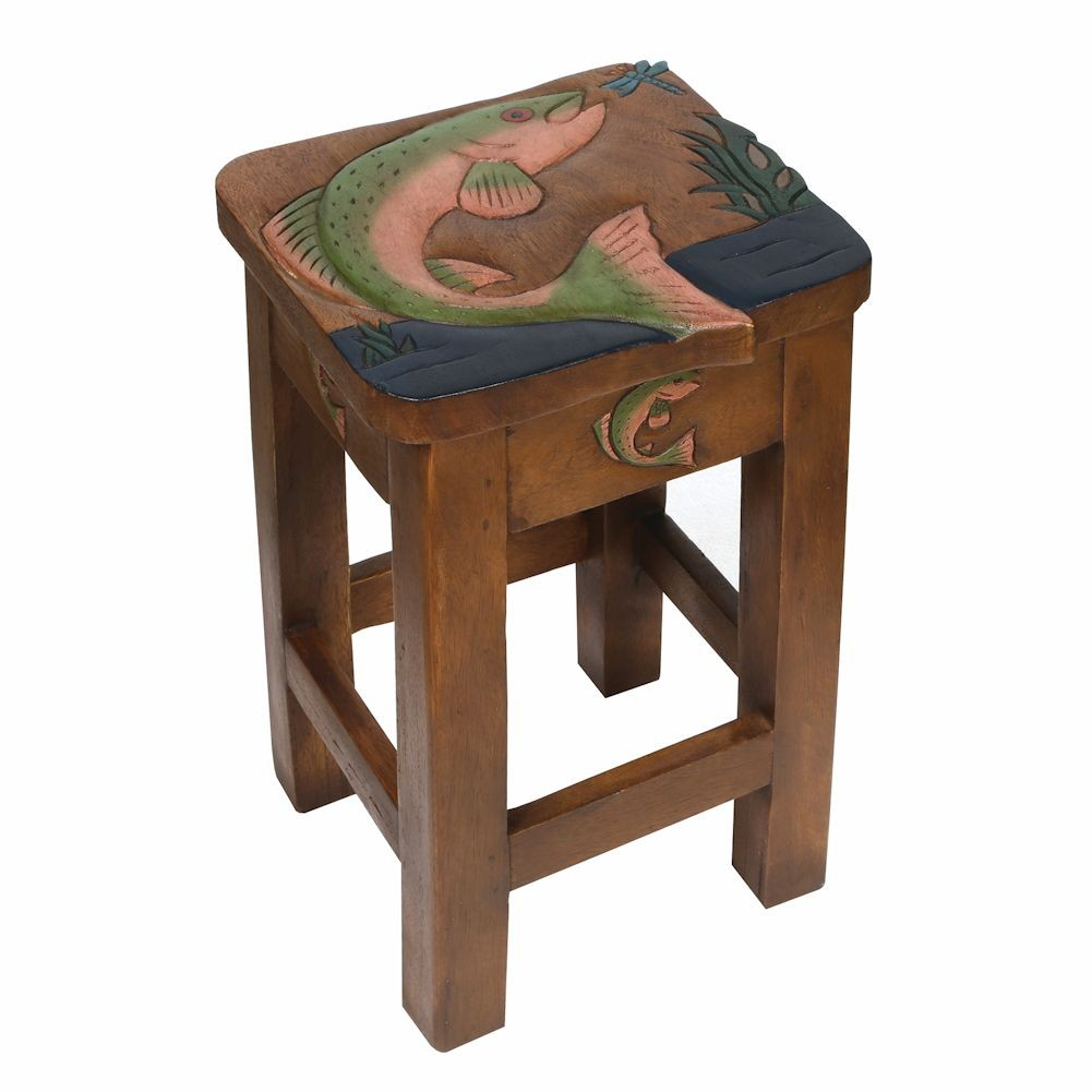 jumping trout carved acacia wood accent table patio drink wooden plant stands indoor mirrored tray deck furniture set large marble slim wine rack small side with shelves hardwood