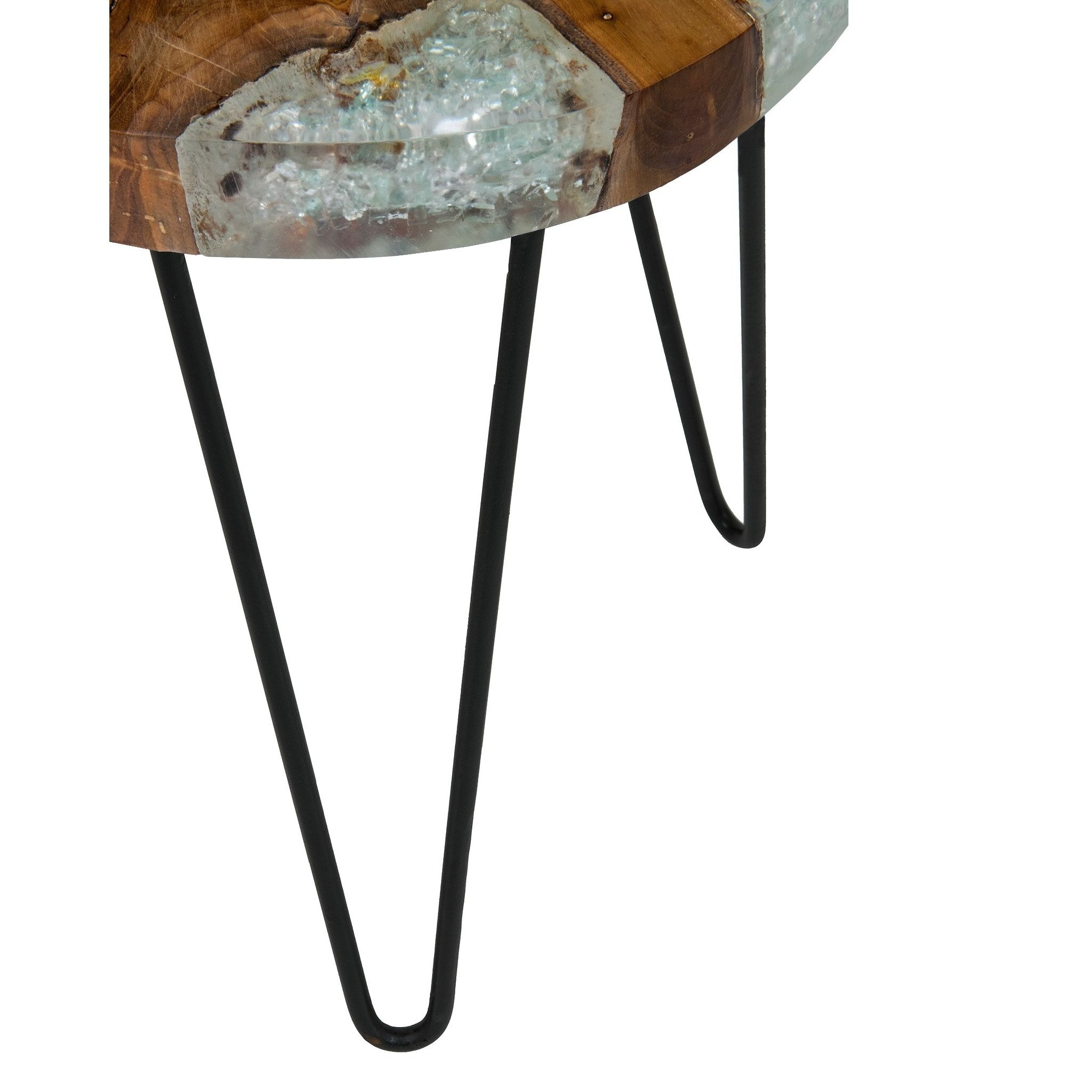 kakalina icy wood and iron small side table ping walnut one drawer accent project the best console behind couch bamboo french coffee centerpieces decorative corners pop bathroom