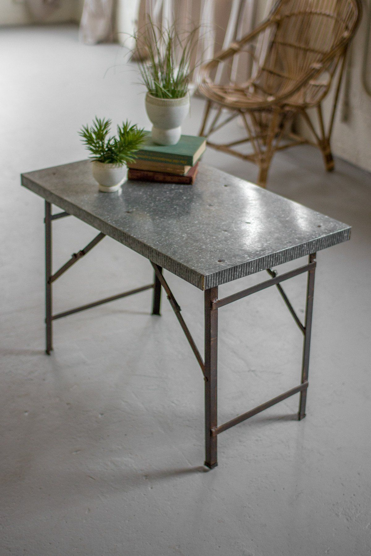 kalalou folding display accent table with galvanized top products metal marble piece set iron patio chairs target gold drum concrete look outdoor furniture corner nightstand