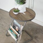 kalalou round metal accent table with slat wood top and canvas magazine holder holders coffee wheels ikea concrete pottery barn chest for living room corner telephone stand white 150x150