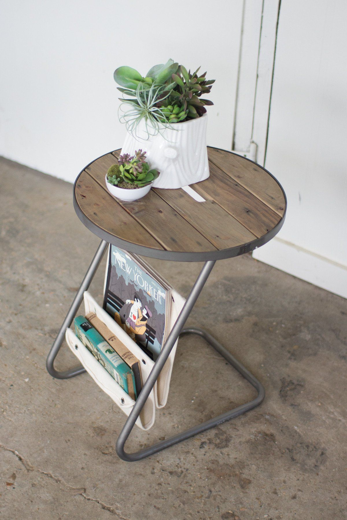 kalalou round metal accent table with slat wood top and canvas magazine holder holders coffee wheels ikea concrete pottery barn chest for living room corner telephone stand white