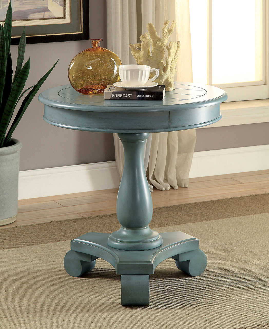 kalea antique teal round accent table plank style top white and gold lamp farm coffee custom dining tables oval glass small console nest marble black drop leaf room bar set ikea