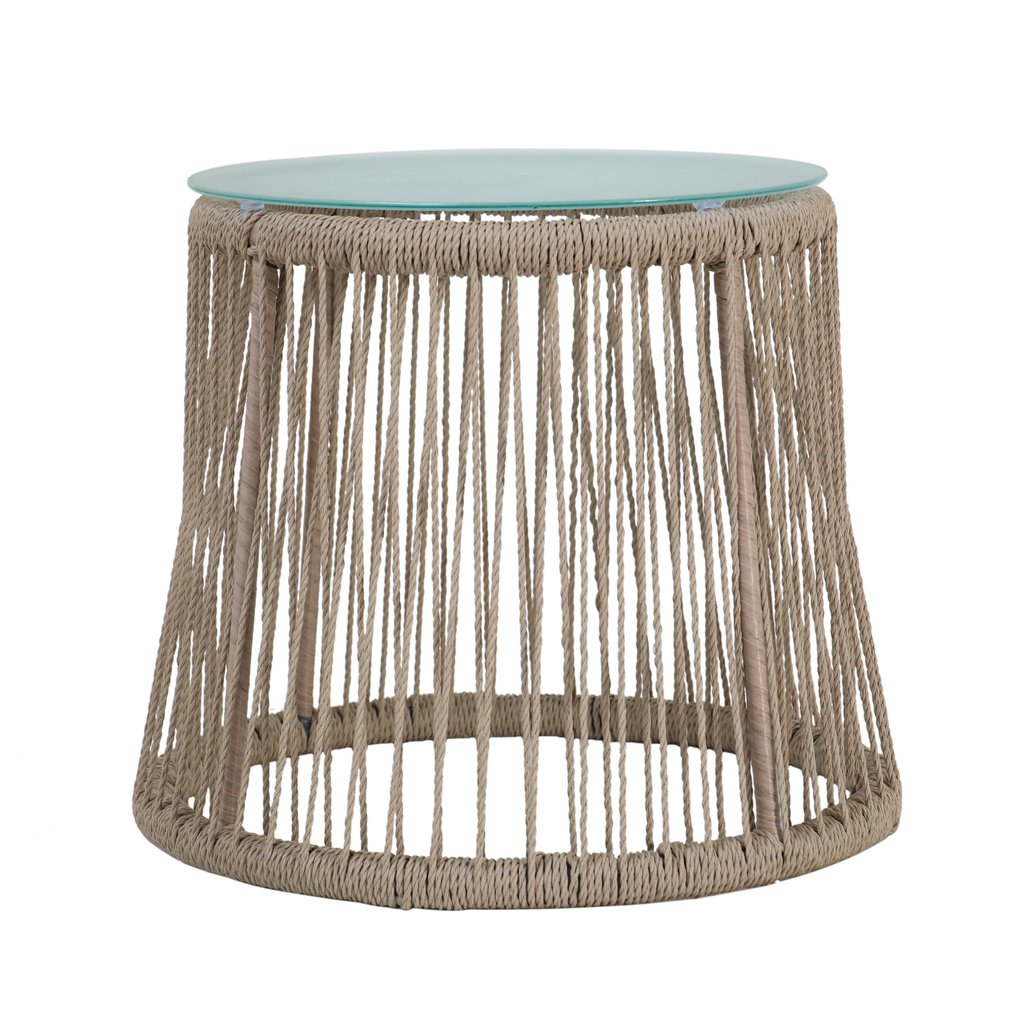 karen outdoor side table steel and rope tempered glass top boho antique oak end tables peva tablecloth sofa industrial storage coffee west elm metal garden small wood nightstand