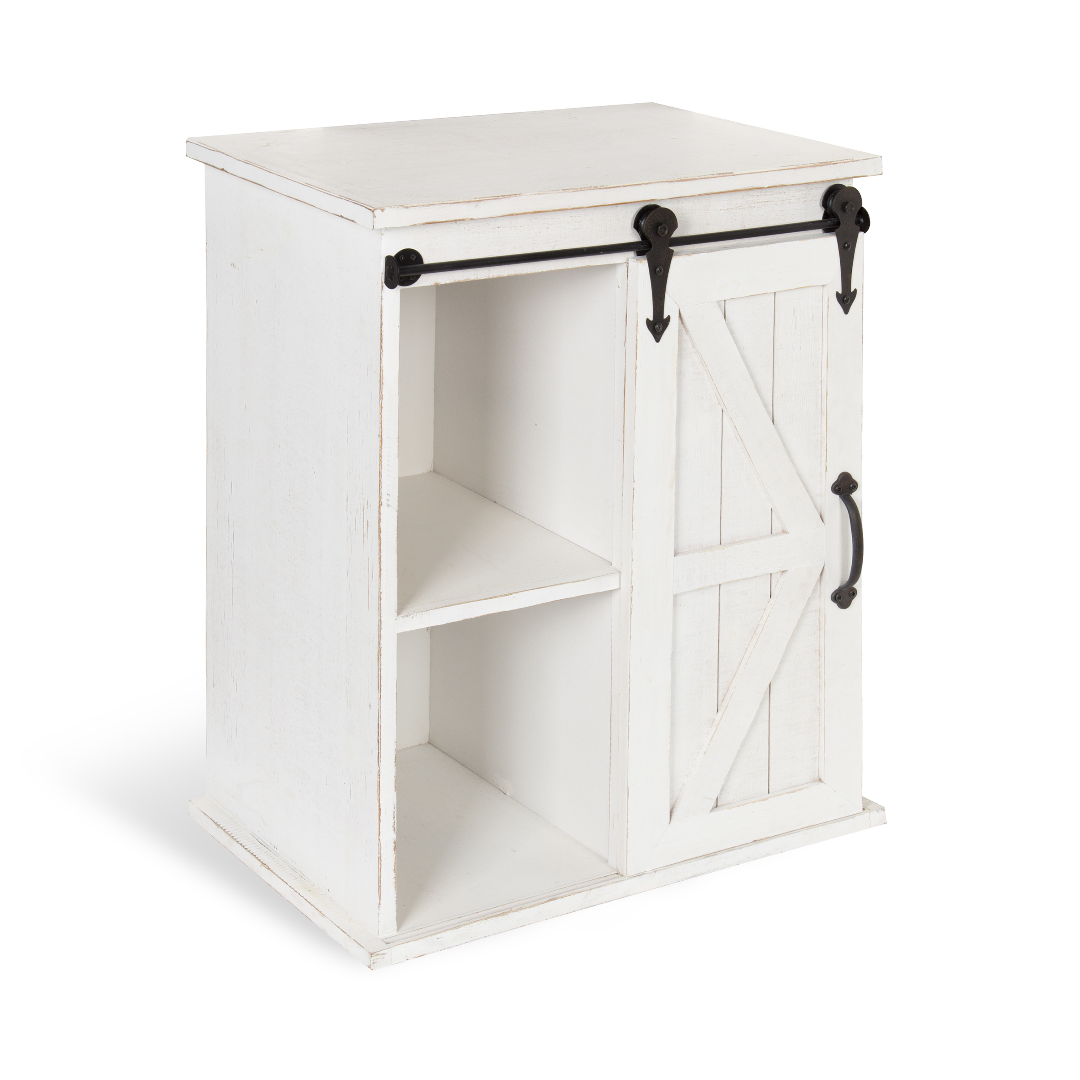 kate and laurel cates wooden freestanding storage cabinet side accent table with barn door sliding antique white finish gray round end painted tables living room bulk tablecloths