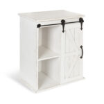 kate and laurel cates wooden freestanding storage cabinet side accent table with sliding barn door antique white finish tiffany furniture easy christmas runner patterns free small 150x150