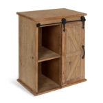 kate and laurel cates wooden freestanding storage cabinet side accent table with sliding barn door rustic brown finish rose gold designs designer round tablecloths living room 150x150
