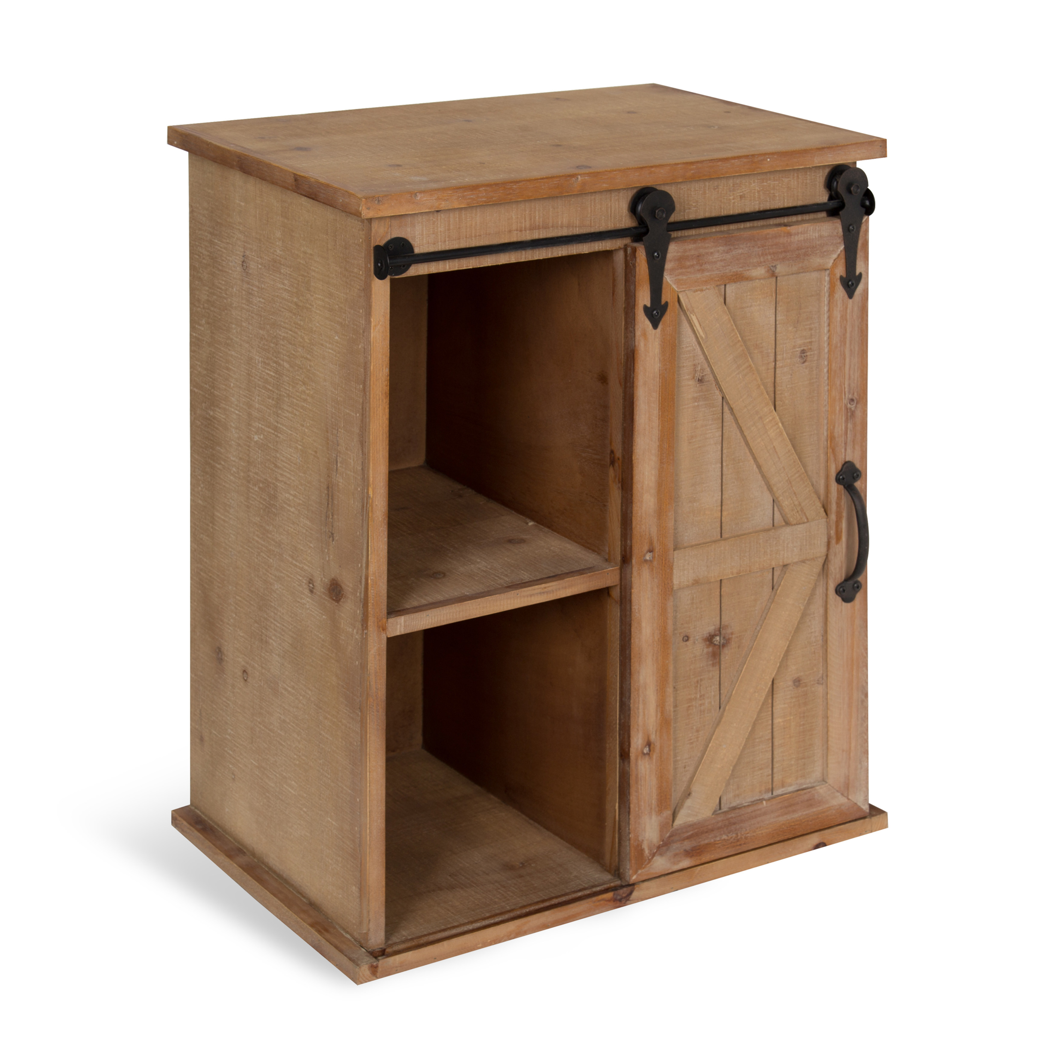 kate and laurel cates wooden freestanding storage cabinet side accent table with sliding barn door rustic brown finish rose gold designs designer round tablecloths living room