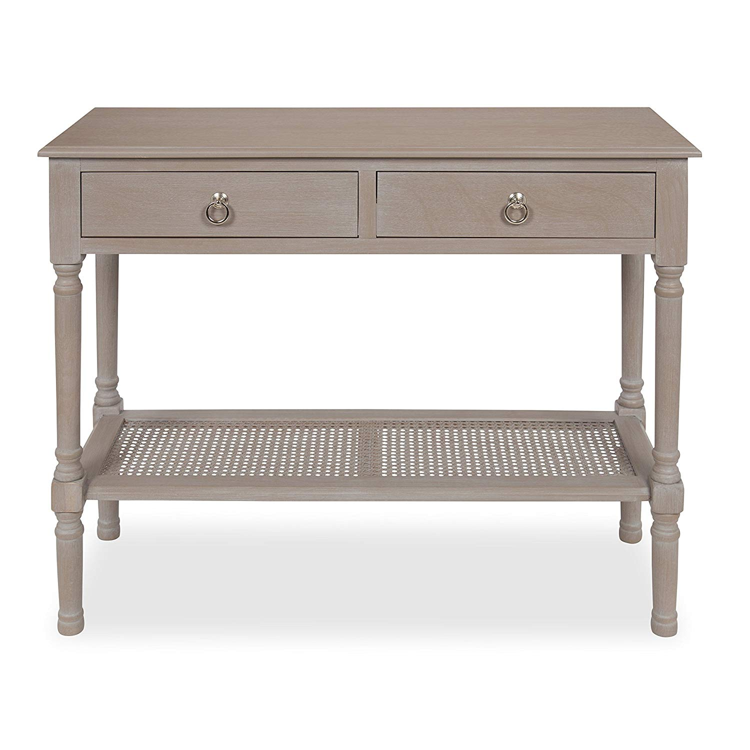 kate and laurel cayne wood console table with drawers weathered gray accent interwoven cane lower shelf kitchen dining west elm chandelier target swivel chair brown lamps