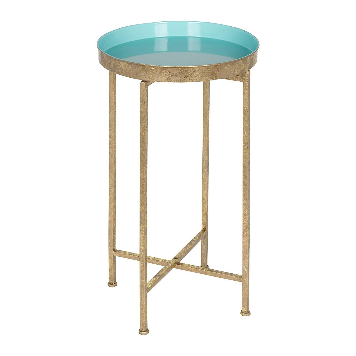 kate and laurel celia round metal foldable tray accent table black gold home kitchen outdoor dining with umbrella pier lamps dishes brass lamp door cabinet counter coupon code