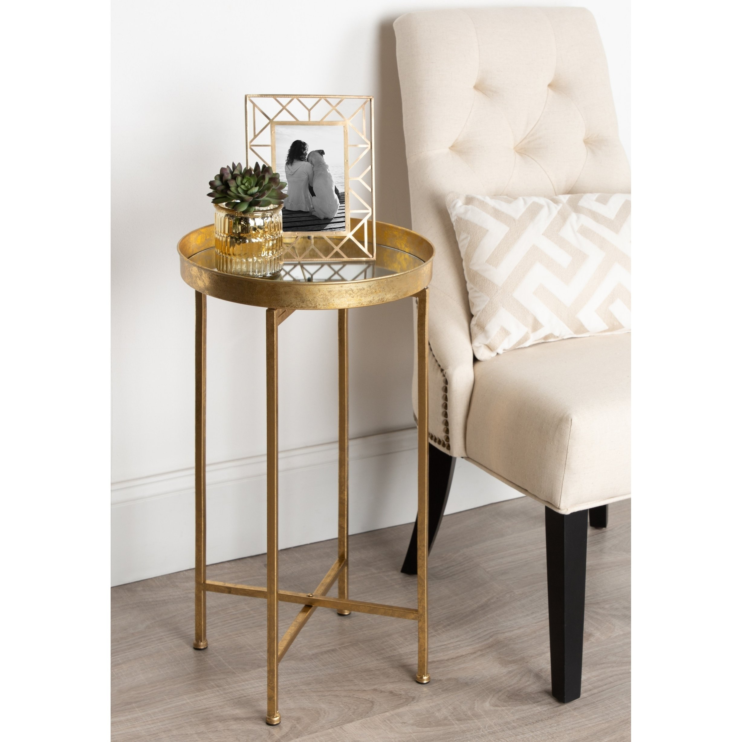 kate and laurel celia round metal foldable tray accent table cardboard free shipping today ballard designs outdoor cushions three legged retro console tall nightstand lamps