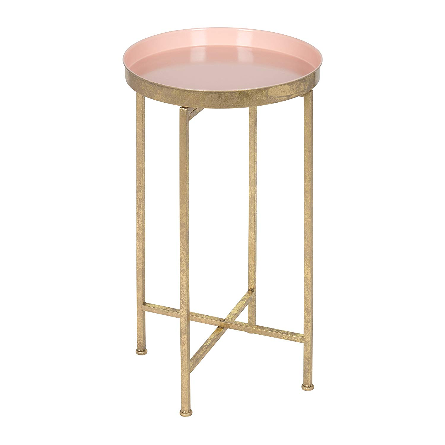 kate and laurel celia round metal foldable tray accent table pink gold home kitchen wrought iron patio pier dinnerware navy blue coffee canvas umbrella low drum throne dinner
