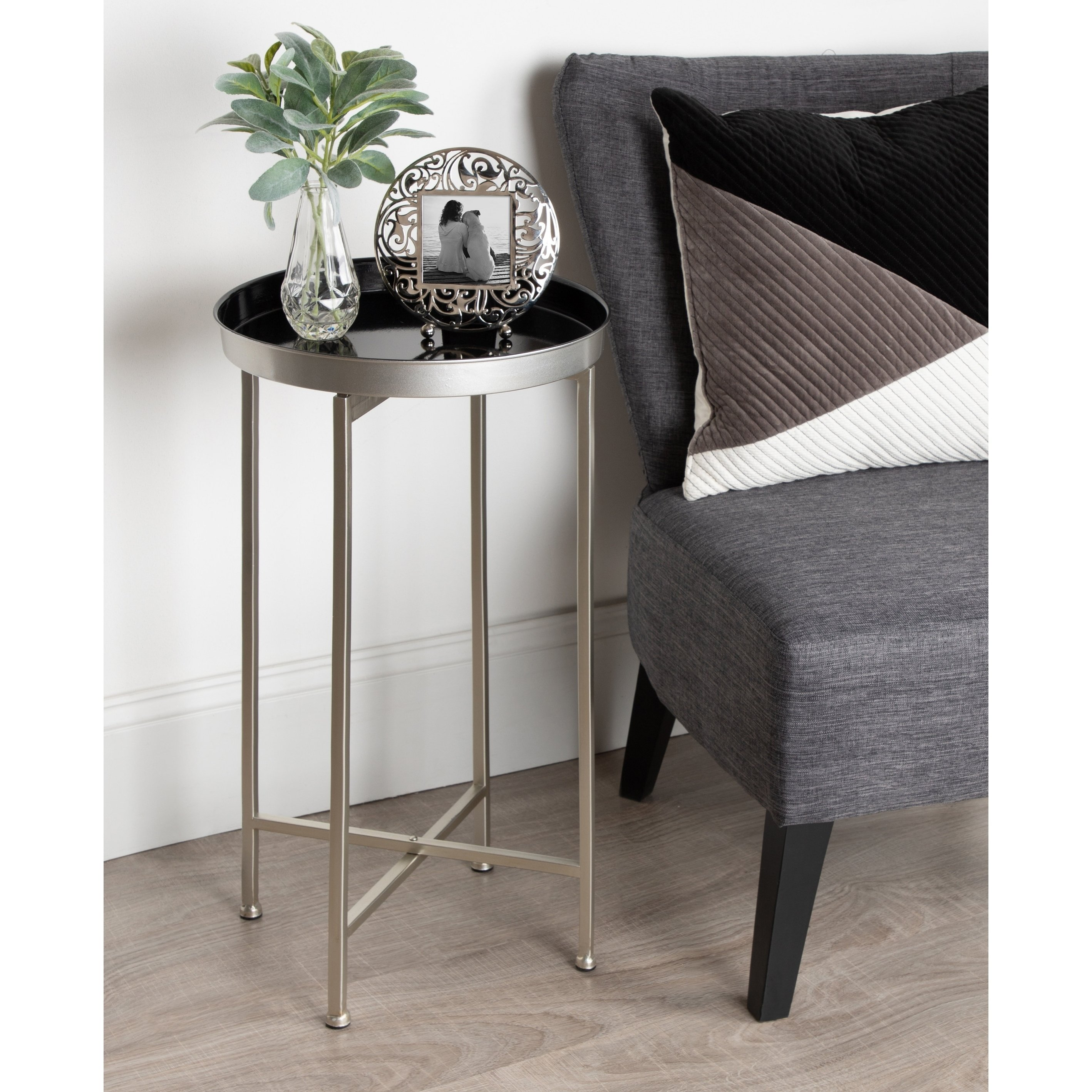 kate and laurel celia round metal foldable tray accent table target white lamp nate berkus glass agate pier dishes wooden christmas tree storage box ikea bedroom cabinets outdoor