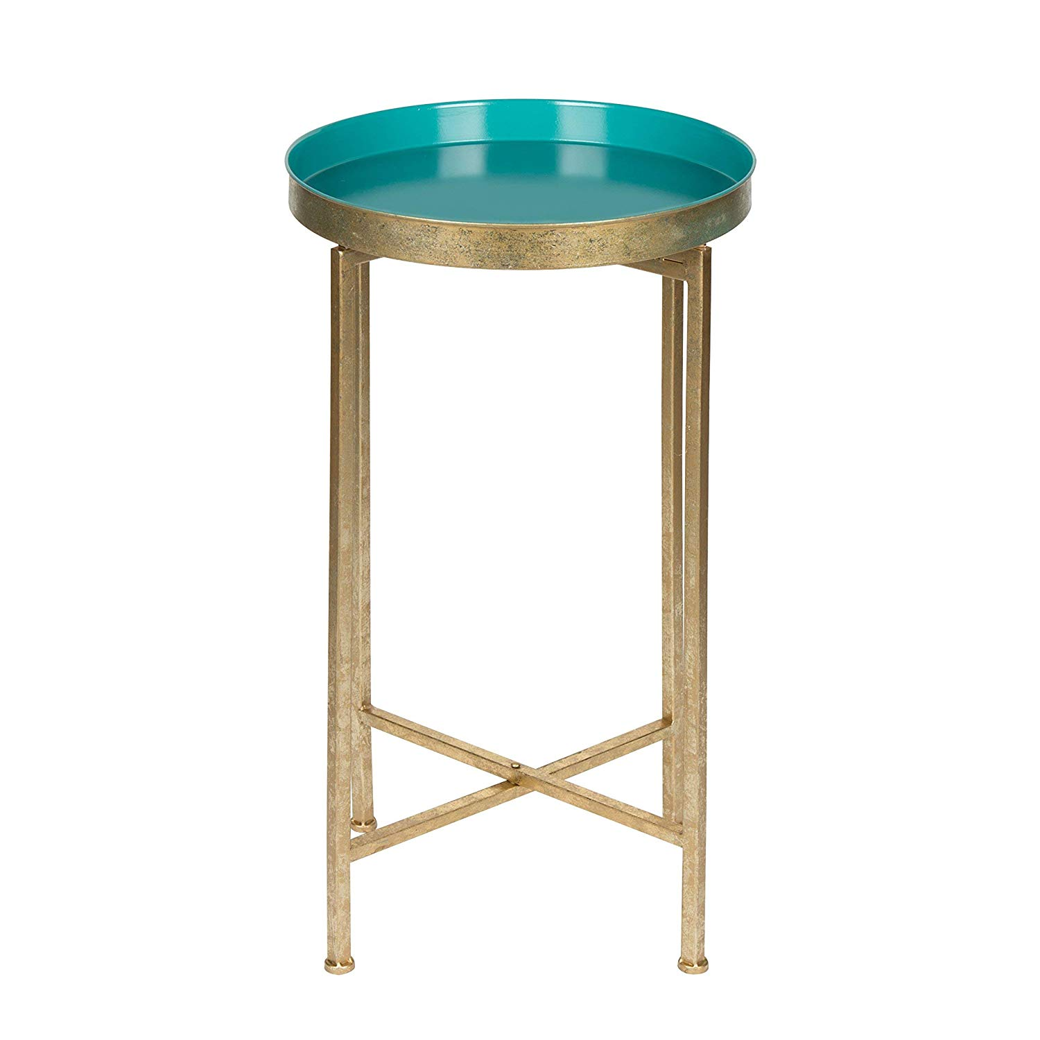 kate and laurel celia round metal foldable tray accent table teal gold kitchen dining room furniture nate berkus side low drum throne rattan outdoor clearance college dorm