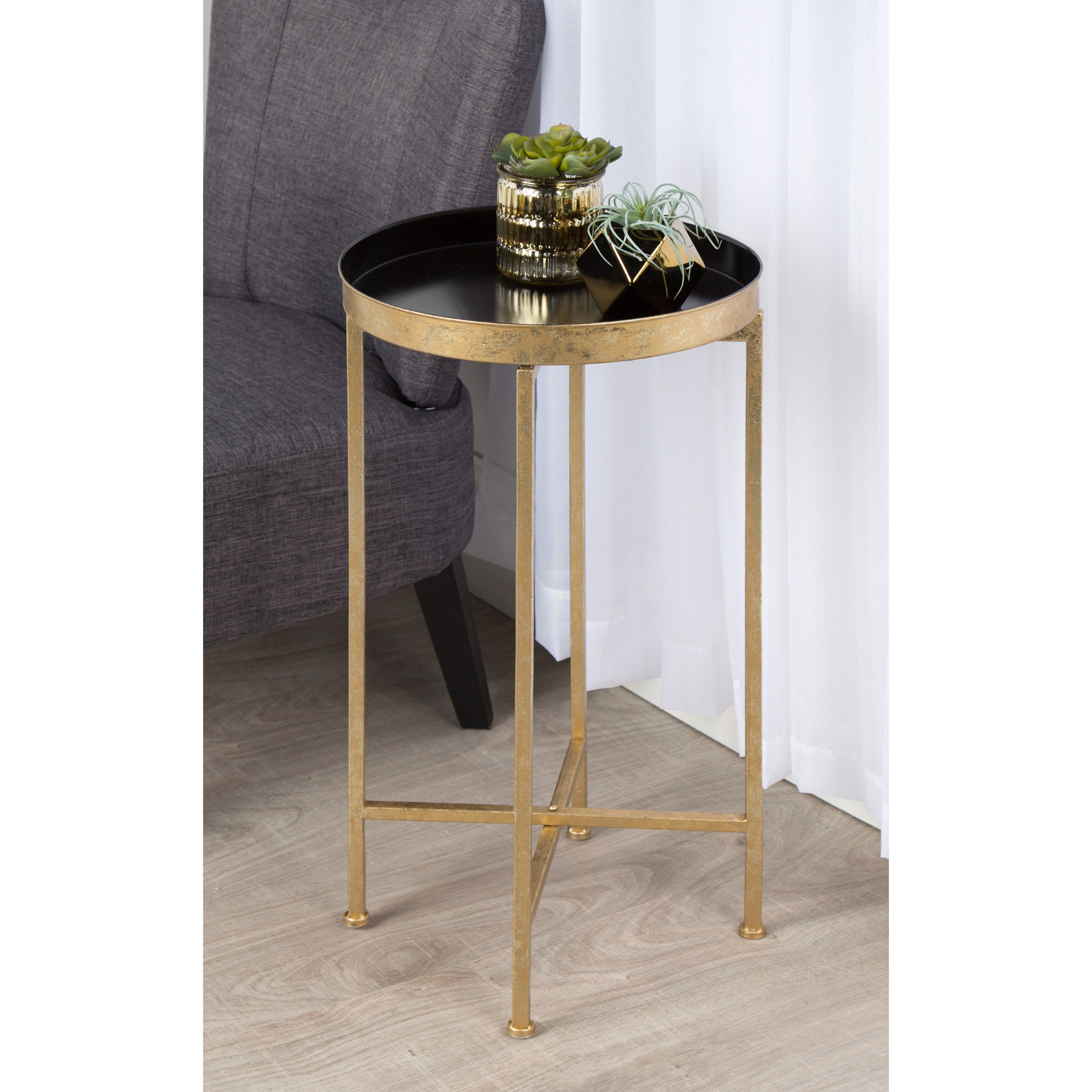kate and laurel celia round metal foldable tray accent table teal goldtone finish gold ikea black cube storage red white oriental lamps marble high top oval glass coffee small