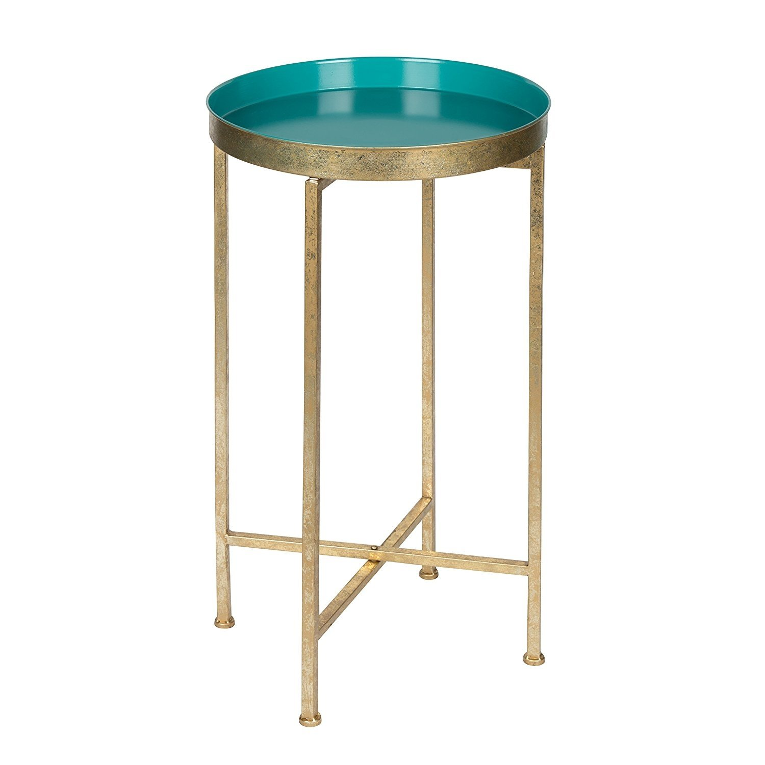 kate and laurel celia round metal foldable tray accent table teal medium gold olympia furniture bar dining set custom tables west elm arc lamp small wooden mirror frame white