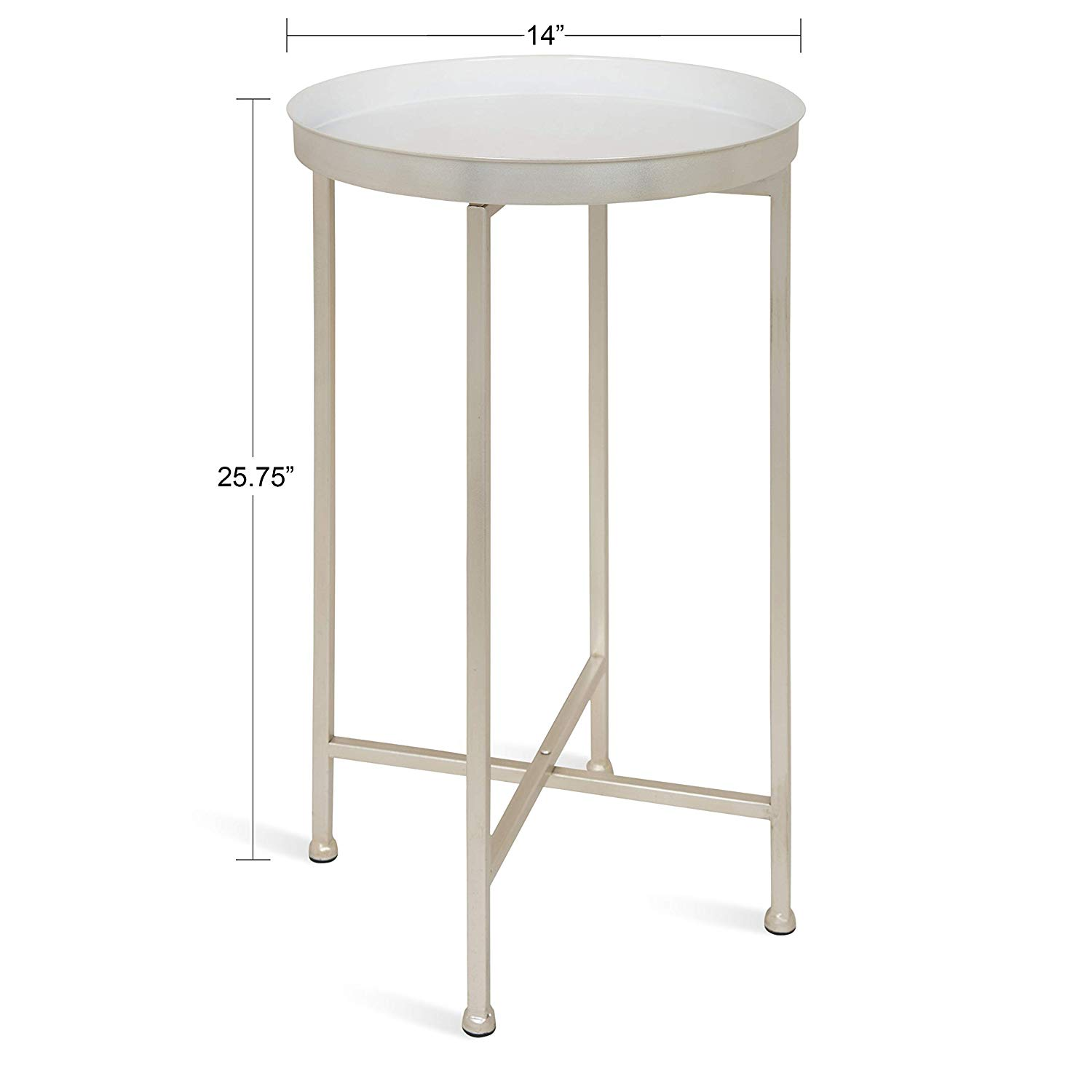kate and laurel celia round metal foldable tray accent table white with silver base kitchen dining christmas tablecloth runner sets tall bistro chairs indoor drum set cymbals