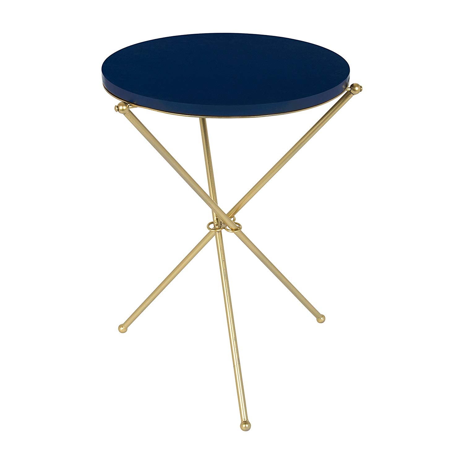kate and laurel emellyn modern luxe folding side accent tall metal table with round painted wooden top tripod legs navy blue gold inch diameter inches bengal manor mango wood