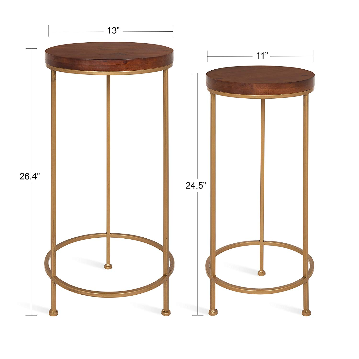 kate and laurel espada metal wood nesting tables gold accent table set piece walnut top with base kitchen dining tall sofa solid corner timber trestle legs round quilted toppers