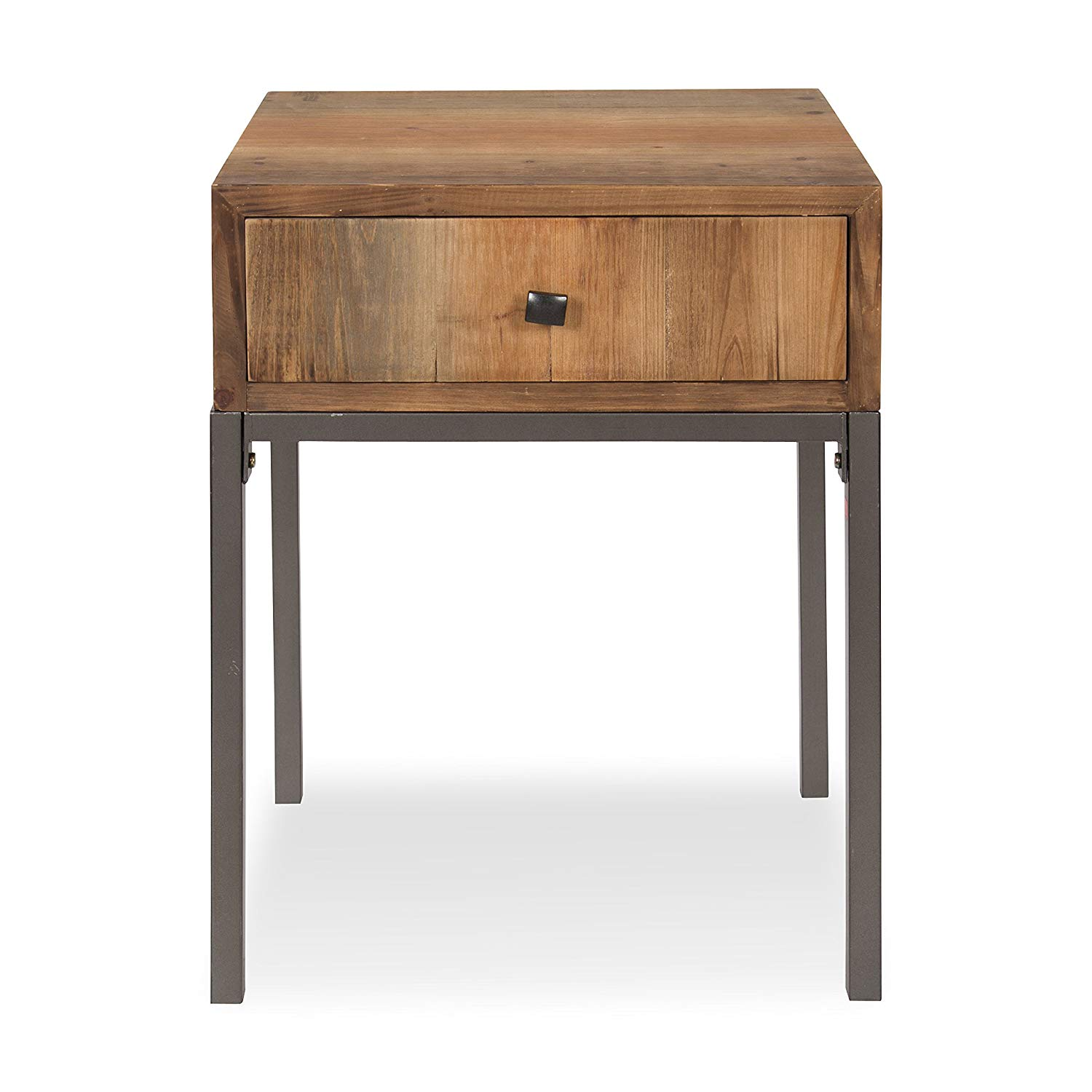 kate and laurel freya wood side accent table with drawer round rustic brown kitchen dining vintage style oak mission end pottery barn tanner coffee kmart console stained glass