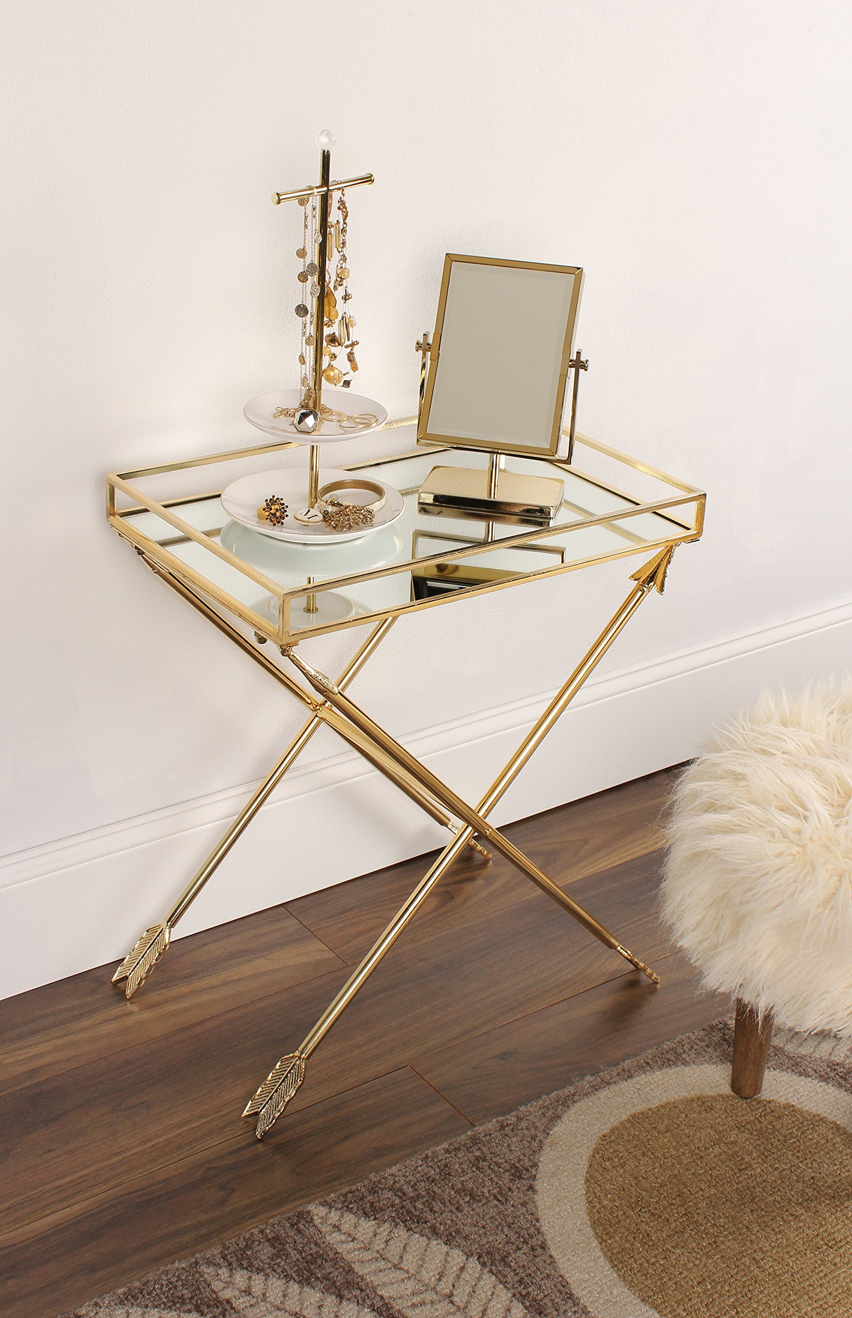 kate and laurel madeira arrow metal accent table with mirrored tray gold top wine rack verizon tablet sheesham wood end french beds tall lamps for bedroom pedestal lamp mid
