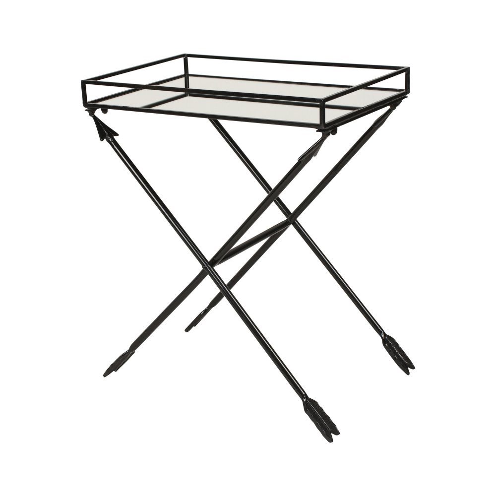 kate and laurel madeira arrow metal accent table with mirrored tray options black ture hairpin legs ikea garden beer cooler gallerie pillows mercury lamp home library furniture