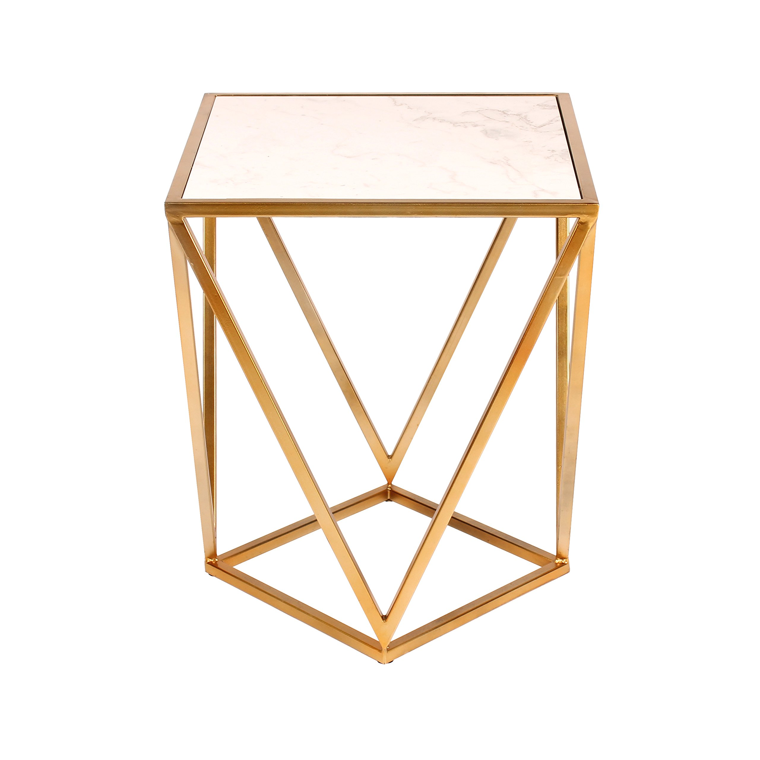 kate and laurel maia metal side accent table with marble top gold azkzeckl decorative square end angled geometric base modern high furniture venetian mirrored jcpenney rugs