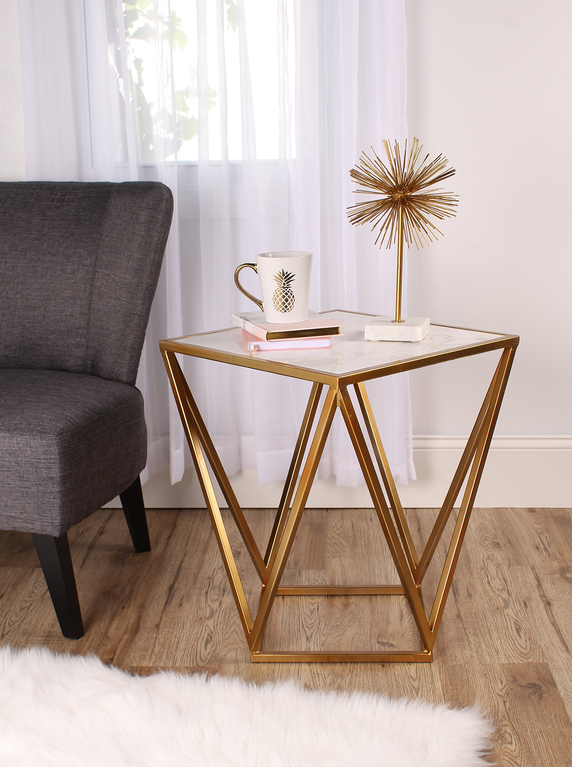 kate and laurel maia metal side accent table with marble top gold cherry wood dining set ikea coffee tables couch jcpenney rugs clearance hampton bay posada outdoor stool high end