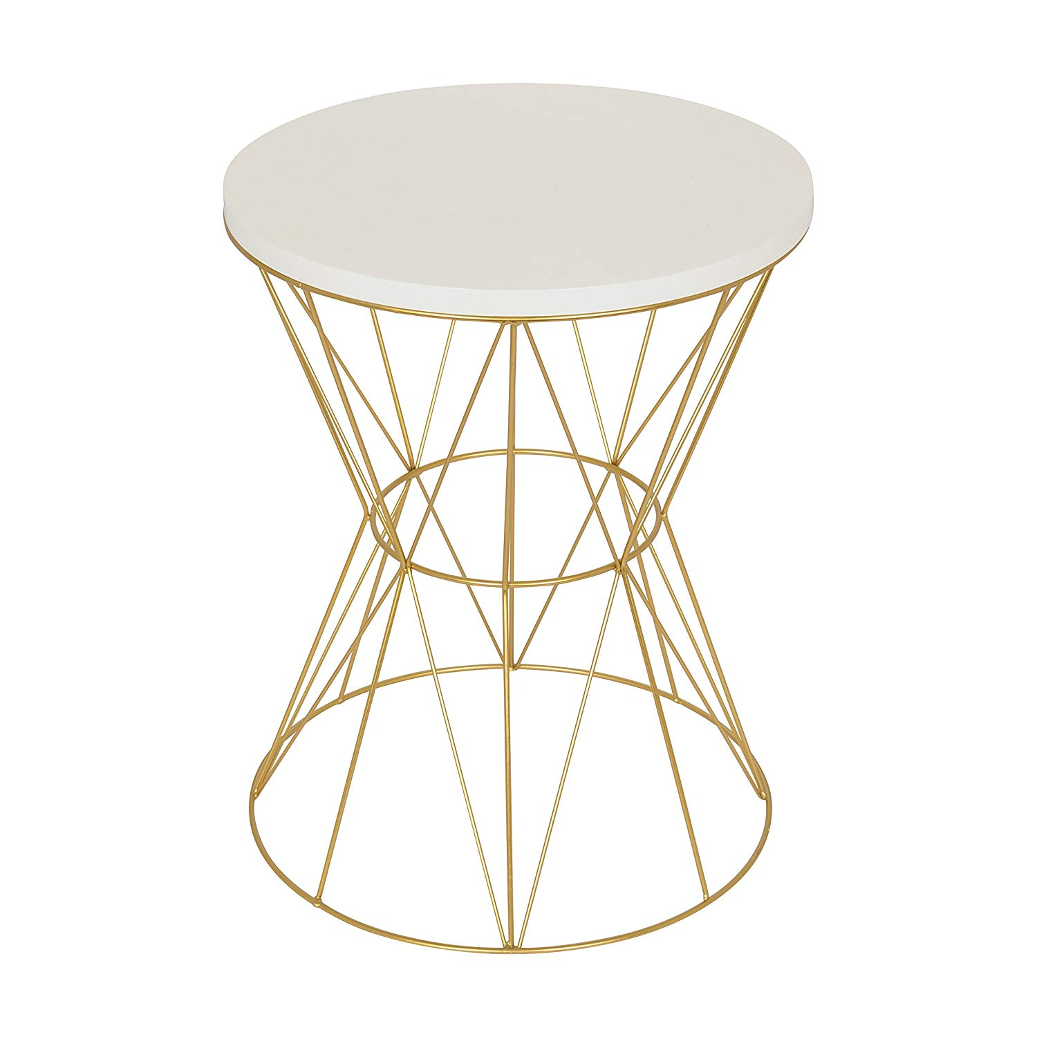 kate and laurel mendel round accent table with cage antique gold faceted glass top metal frame white kitchen dining large cover normande lighting led desk lamp kidney shaped end