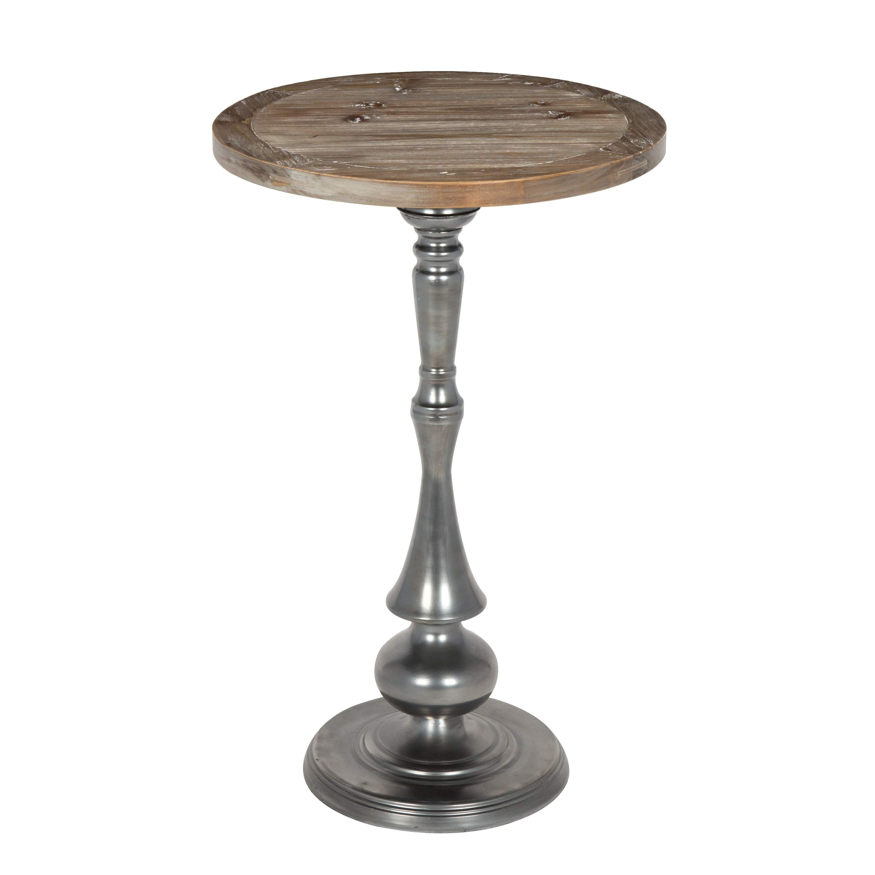 kate and laurel regina round metal wood pedestal accent table silver brown patio furniture with storage square wall clock retro wooden chairs dark chest coffee night grill side