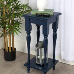 kate and laurel sophia rustic wood top plant stand end table with accent shelf navy blue comfortable drum throne dale tiffany stained glass lamp shade vintage drop leaf dining 150x150