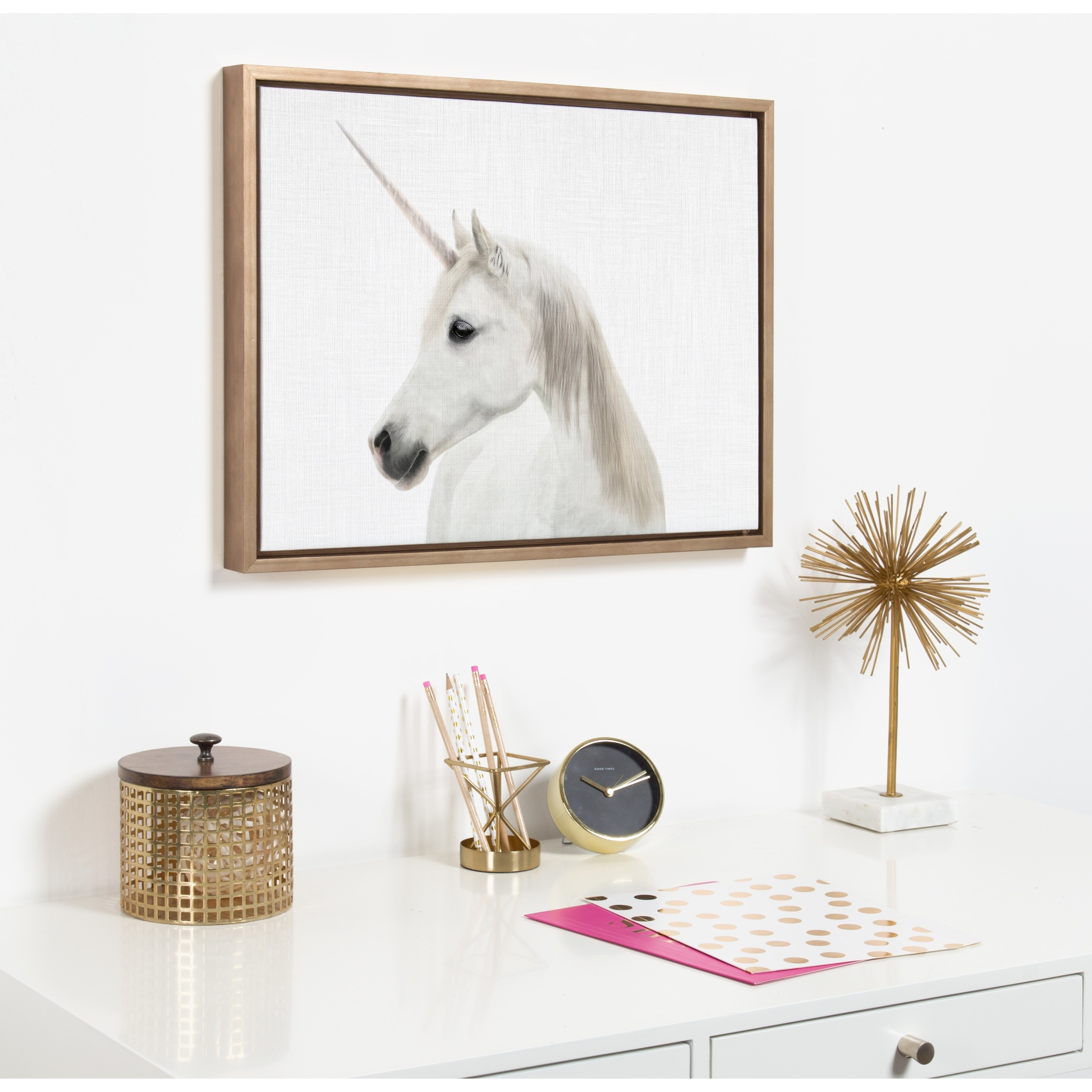 kate and laurel sylvie unicorn framed canvas simon tai gold accent table free shipping today college dorm room decor bedroom chairs target tiffany lily lamp brass versailles