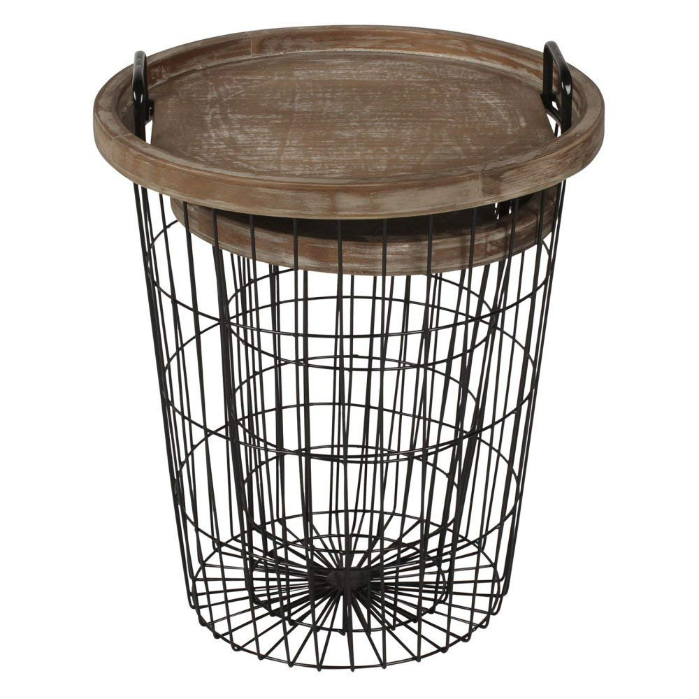 kate and laurel tenby nesting metal wood tray accent wire basket table end tables black home kitchen mirrored bedside ikea high top pub chairs large coffee outdoor red cloth side