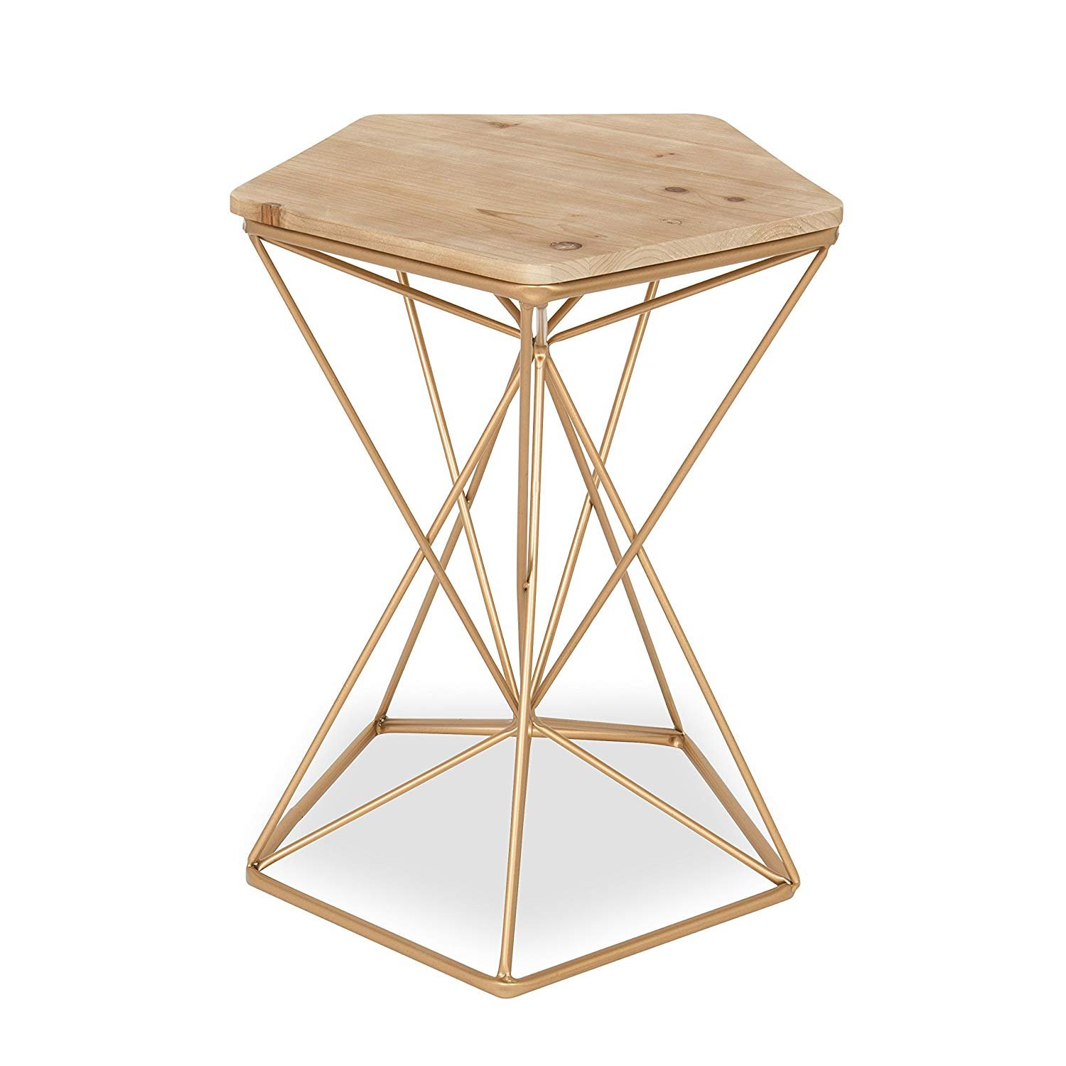 kate and laurel ulane metal side accent table with natural wood medium top rose gold ikea narrow end mosaic patio cream colored tables mainstays coffee unique cabinets very small