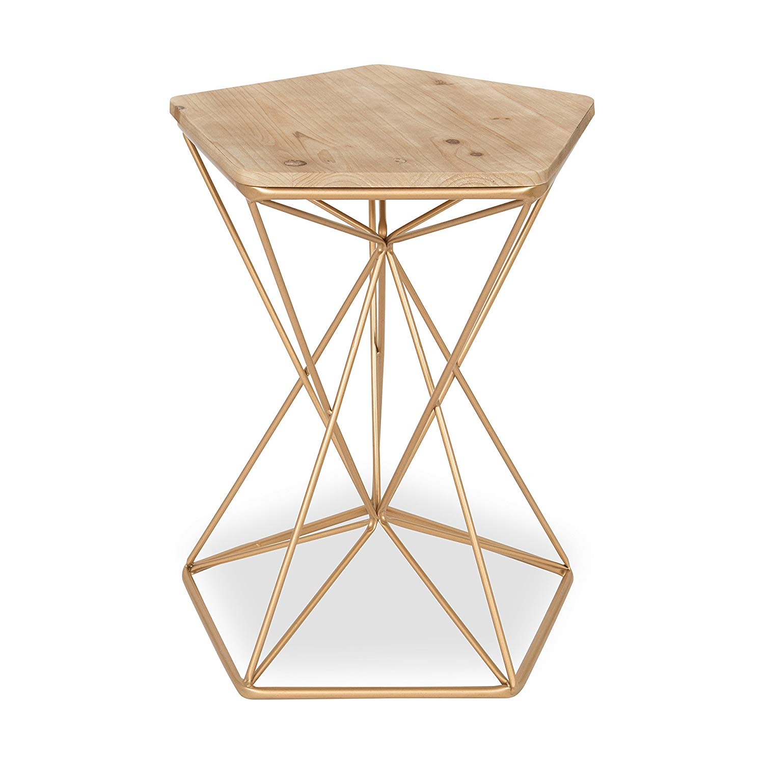 kate and laurel ulane metal side accent table with tables furniture natural wood top rose gold home kitchen tall mirrored round garden cover vintage half moon whalen cooler coffee