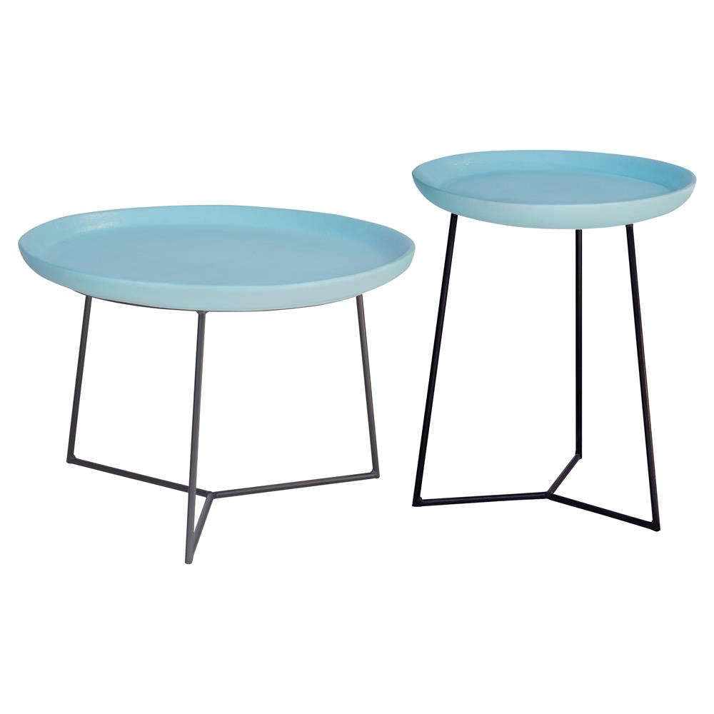 kate modern round blue ceramic top metal outdoor side end table product kathy kuo home black coffee west elm peggy stackable plastic tables ikea kids storage boxes dining room