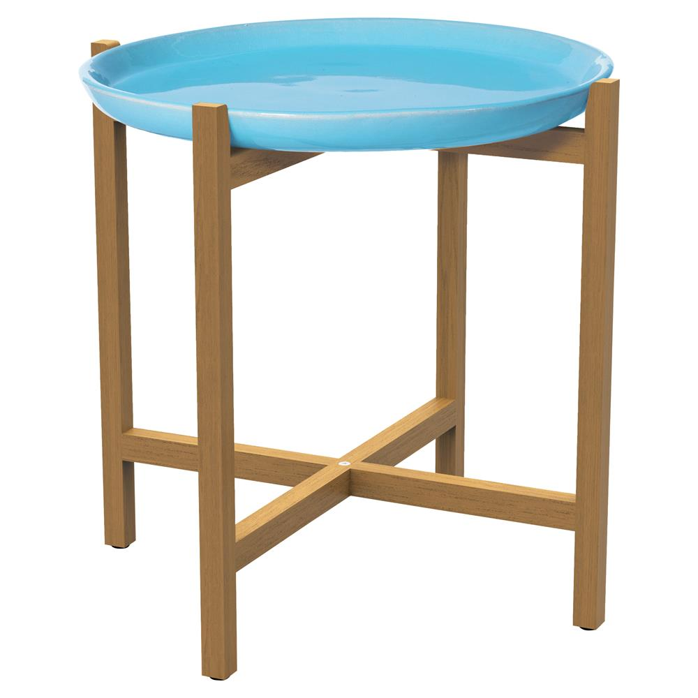 kate modern round blue ceramic top teak outdoor side end table product kathy kuo home mid century furniture legs farmhouse style dining room cloth runners deep console black