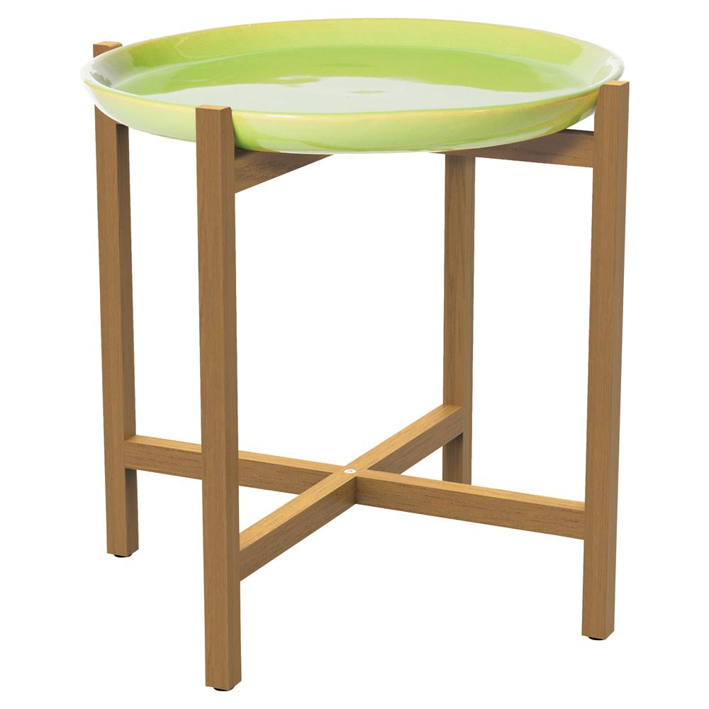 kate modern round green ceramic top teak outdoor side end table product kathy kuo home cherry corner accent carpet door plates furniture covers distressed tables beach coffee