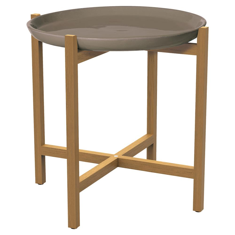 kate modern round taupe ceramic top teak outdoor side end table product kathy kuo home contemporary lamps for living room iron mila square accent elephant tables with glass