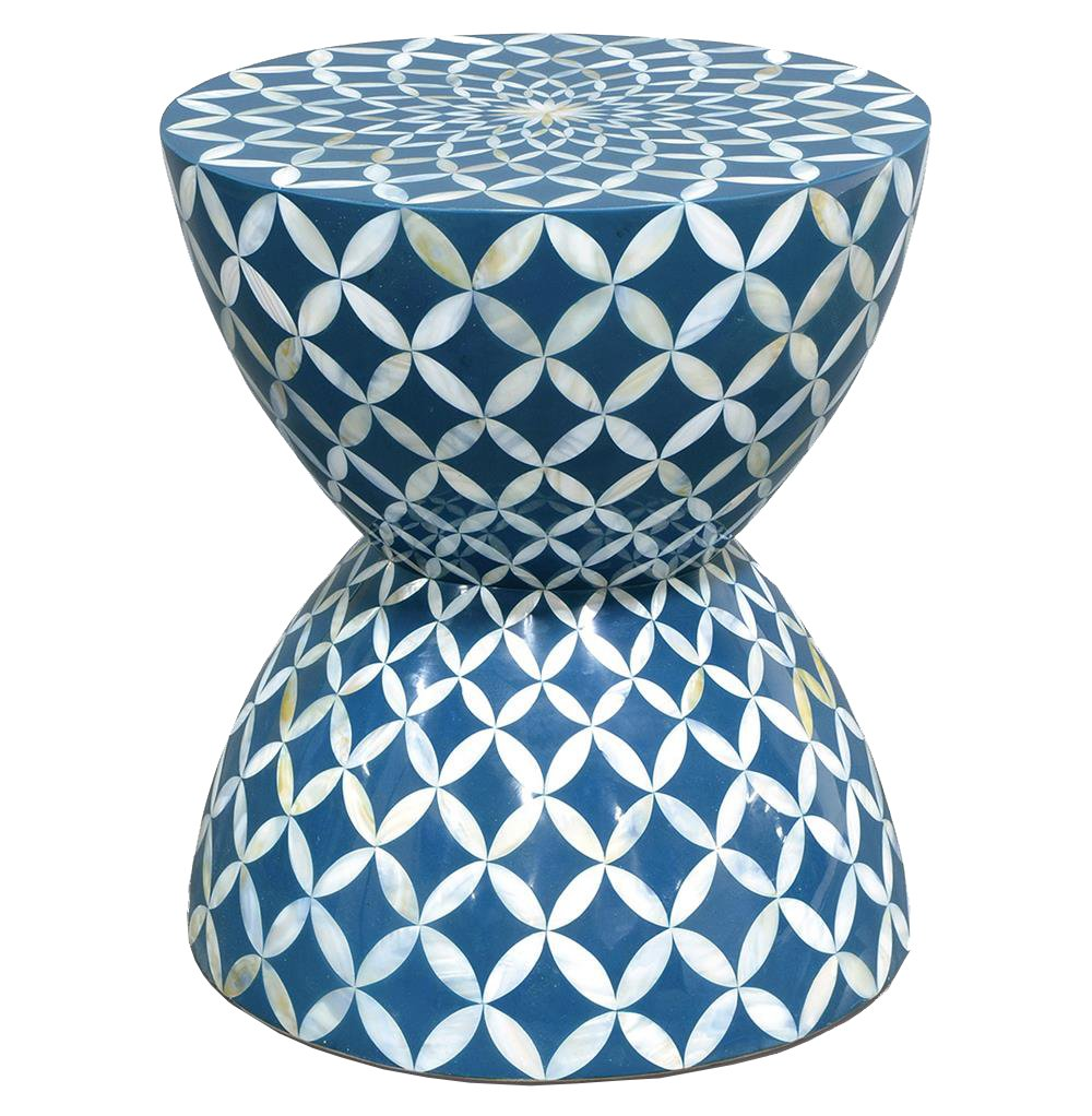 kathy kuo home cornflower coastal beach hourglass blue accent table white inlaid shell stool side purple placemats and napkins inch square tablecloth lamp with dimmer west elm